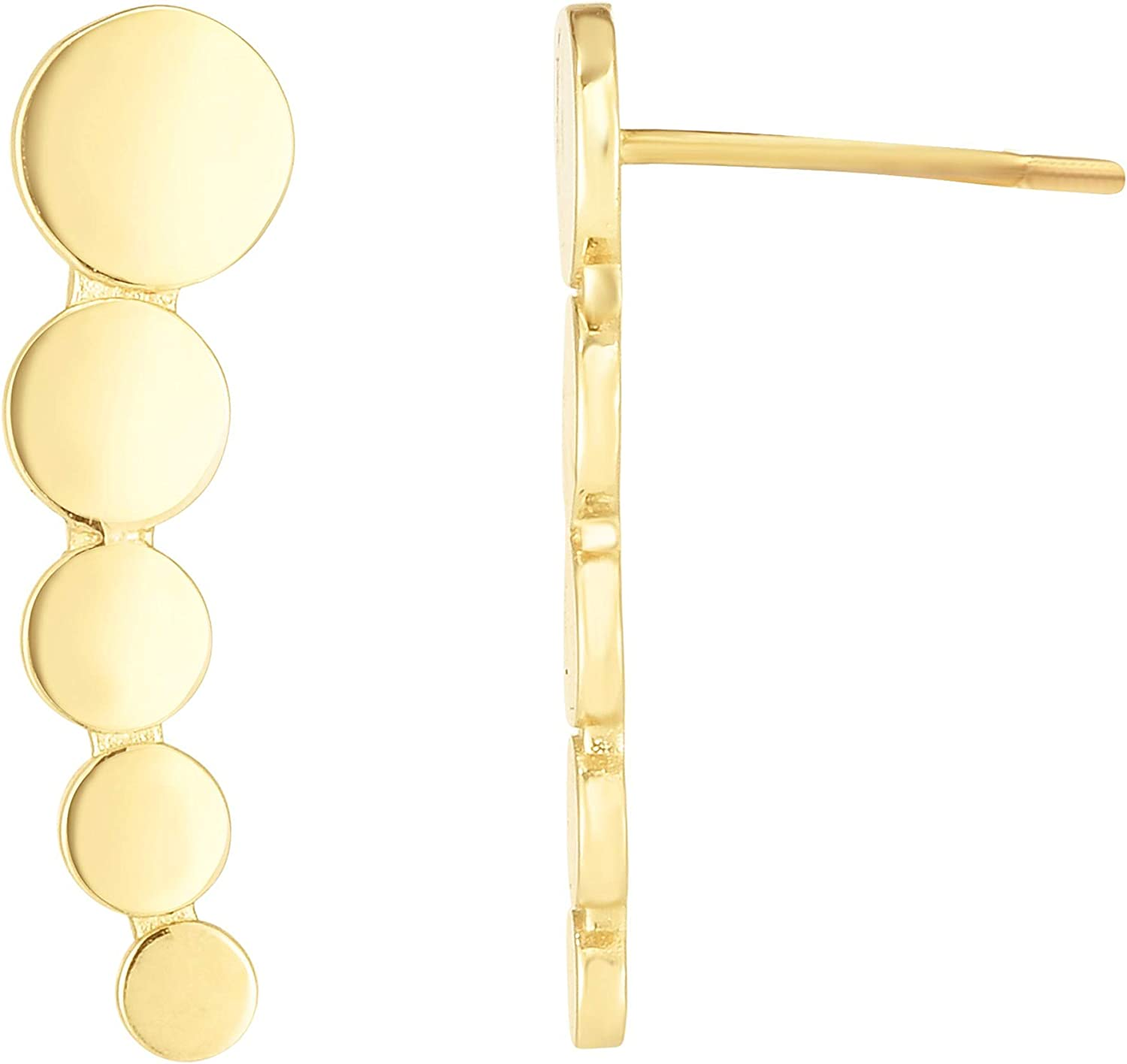 14kt Gold Yellow Finish 17.9x4.8mm Polished Curved Climber Bead Bar Earring with Push Back Clasp