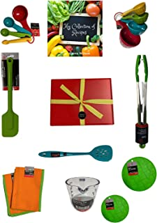 Deluxe Kitchen Cooking Set, 11 pieces - Assorted Vibrant Colors - Green