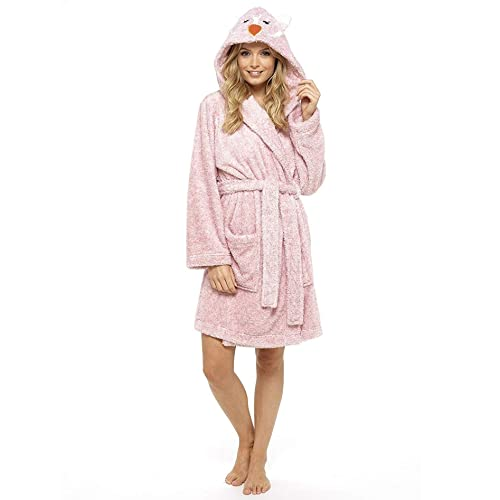 17b5434d2b Ladies Dressing Gown Fluffy Super Soft Hooded Bathrobe for Women Plush  Fleece Perfect for Spa Gym