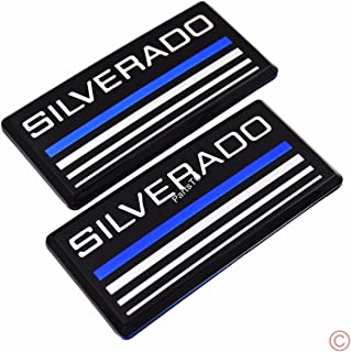 2x PartsTo Blue Line Cab Emblem Badge Side Roof Pillar Decal Plate for Chevy Silverado 88-98 90 91 Suburban Tahoe C/K Series Blazer