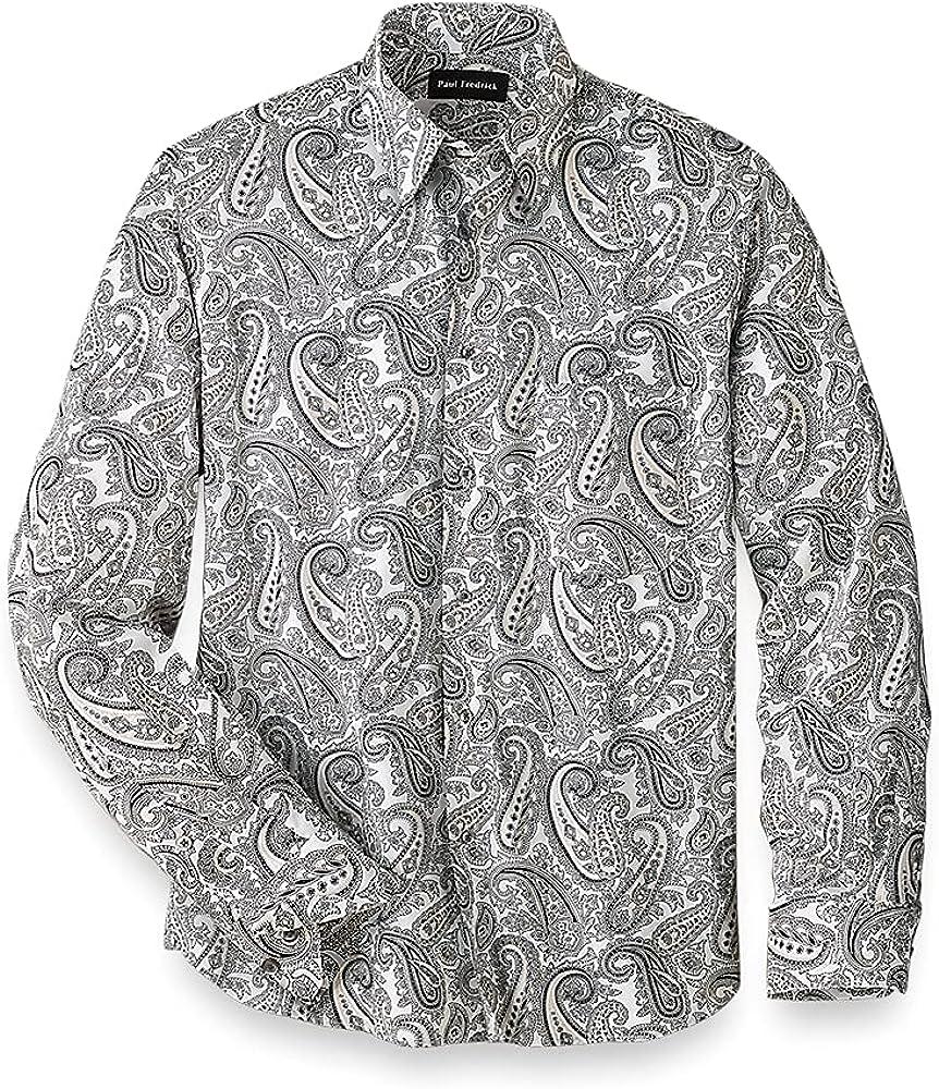 Paul Fredrick Men's Easy Care Cotton Paisley Casual Shirt, Black/White