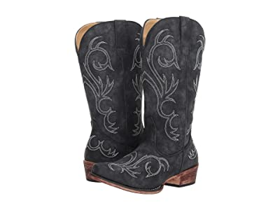 Roper Riley (Black Faux Leather/All Over Embroidery) Women