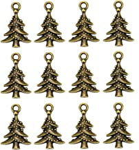 WSSROGY 100 Pcs Antique Bronze Christmas Tree Charms Mixed Pendants Charms for Crafting Smooth Tibetan Silver Bulk Charms DIY for Jewelry Making