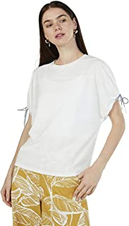 Iconic Women's 2091066 SS23TIEKNITO Knitted T-Shirt, Ivory