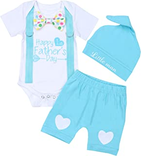 KANGKANG Happy 1st Father's Day Baby Boy Outfit Gentleman Bow Tie Romper+Short Pants+Little Man Hat 6-9Months Blue