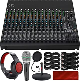 Mackie 1604VLZ4 16-Channel 4-Bus Compact Mixer with Professional Mixing Headphones, Samson Microphone, Xpix Mix Stand, and...
