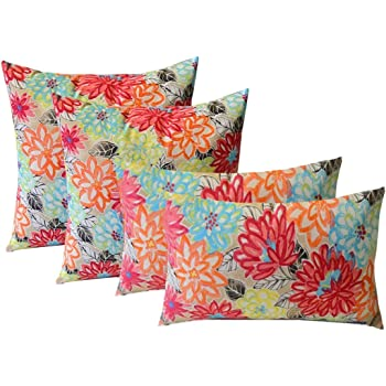 """RSH Decor Indoor Outdoor Set of 4 (2-17""""x17"""" Square and 20""""x12"""") Lumbar Decorative Toss Throw Pillows - Yellow, Orange, Blue, Pink Bright Artistic Floral"""
