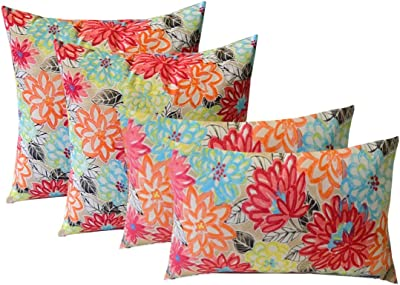 Amazon Com Rsh Decor Indoor Outdoor Set Of 4 2 17 X17 Square And 20 X12 Lumbar Decorative Toss Throw Pillows Yellow Orange Blue Pink Bright Artistic Floral Home Kitchen