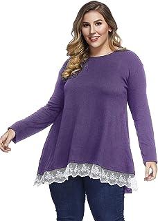 392d7231977 Sanifer Women Plus Size Lace Long Sleeve Tunic Tops T Shirts
