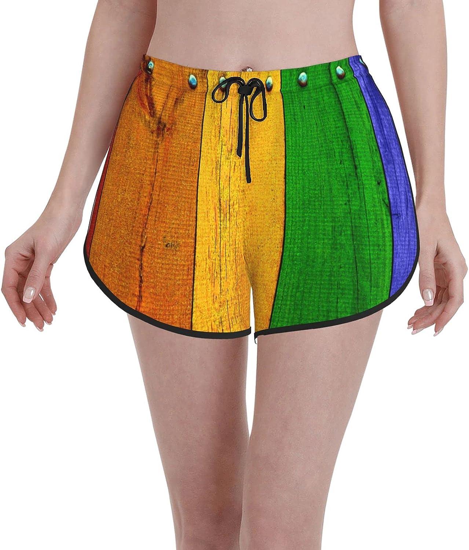 Women's Girl's Swim Trunks Rainbow Colored Red Gre Brand new mart Marigold