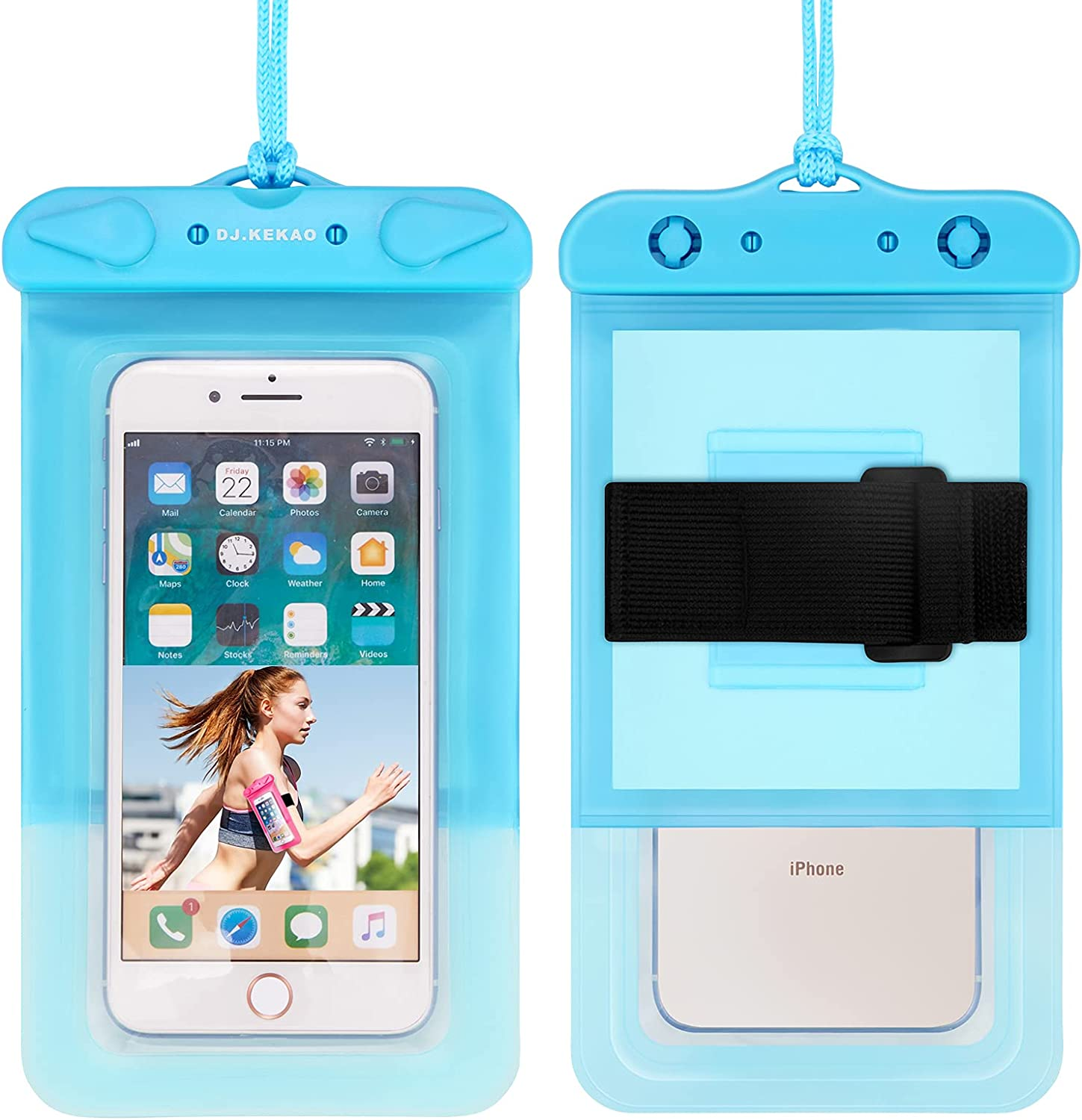 Waterproof Float Phone Pouch with Neck Trap and Armband, Waterproof Phone case, Dry Bag Outdoor Beach Bag for iPhone 12 Samsung Galaxy, and Other Phones Up to 6.9'' (Blue)