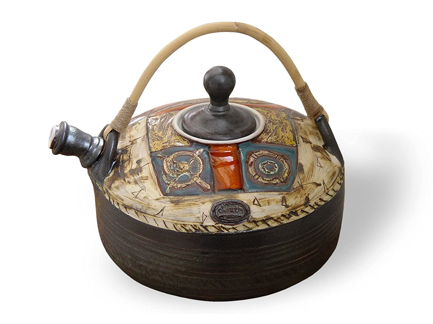 Colorful Pottery Teapot with Wicker Indianapolis Mall Wheel Tea High material Handle. Pot Thrown