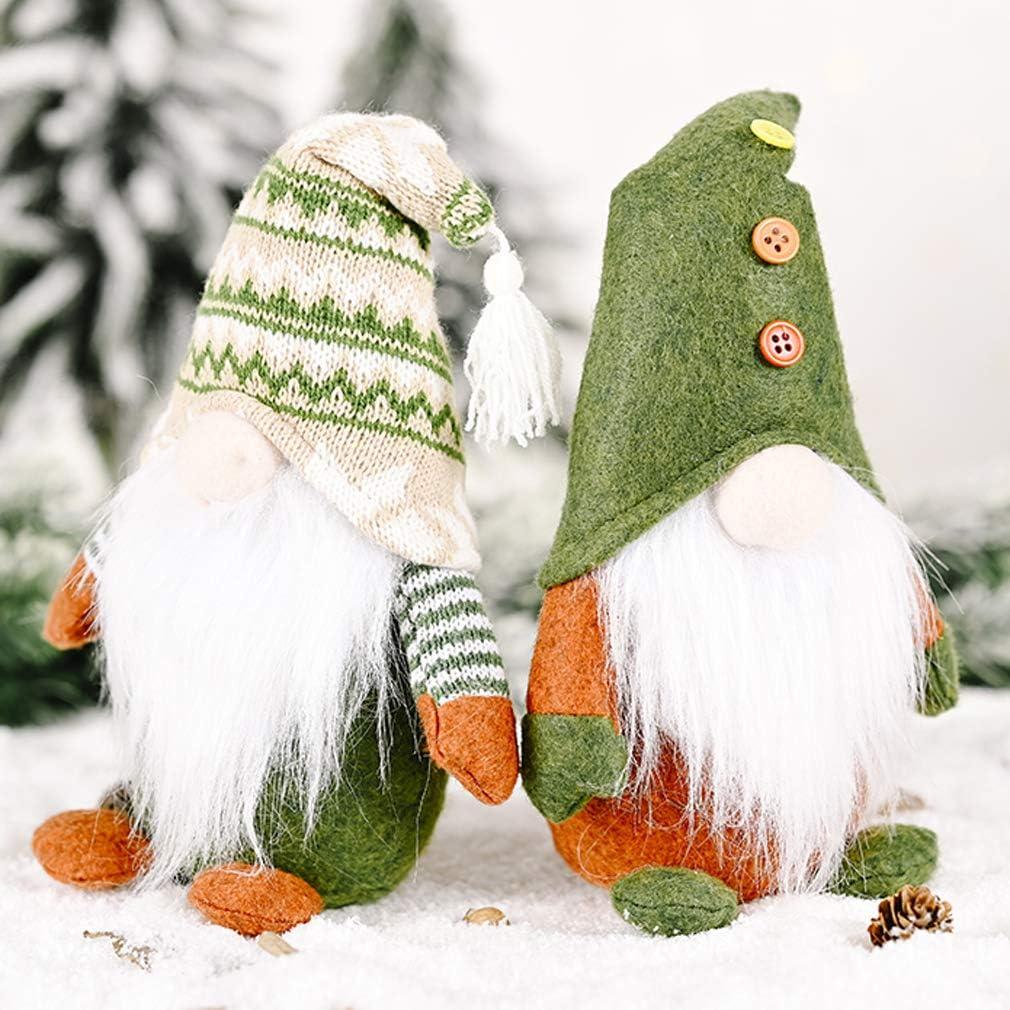 Christmas Gnomes Decor 2 Pack, Swedish Gnome Plush Ornament Tomte Santa Elf Dwarf for Thanksgiving Decorations (Style:A)
