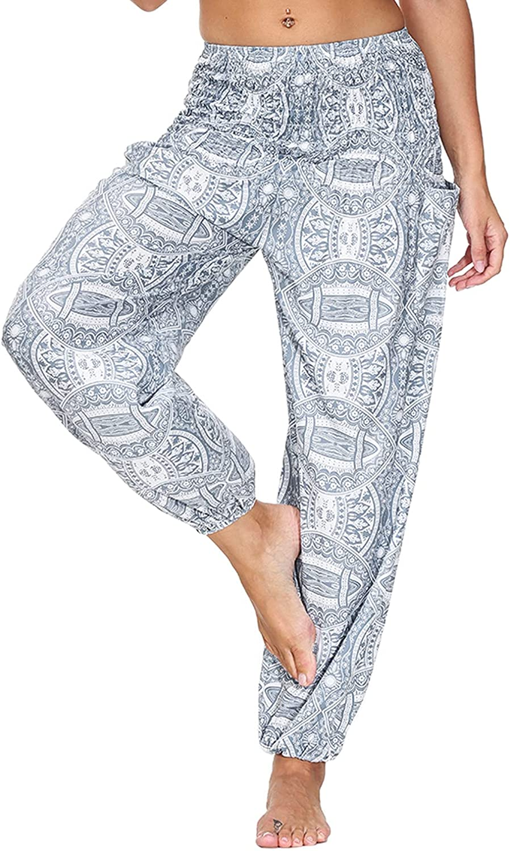 KLFGJ Women's Harem Hippie Pants Wide Leg Palazzo Soft Loose Fit Elastic Waist Casual Bloomers Long Pants