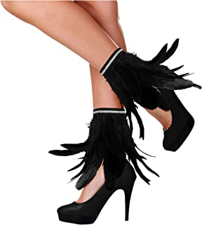Gothic Feather Ankle Cuffs Foot Anklet Bracelet Armlet Armband Shrug Epaulet Halloween Accessories