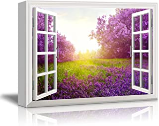 Canvas Print Wall Art - Window Frame Style Wall Decor - Purple Flower and Green Grassland Under Bright Sunshine | Giclee Print Gallery Wrap Modern Home Decor. Stretched & Ready to Hang - 24