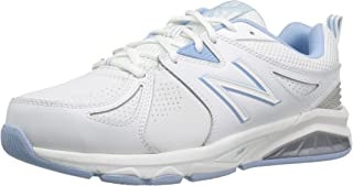 New Balance Women's 857 Cross Training Shoes, White/Blue, 7 US (Wide)
