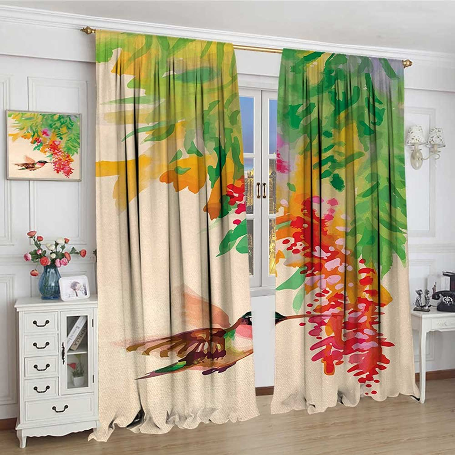 Smallbeefly Hummingbird Widened Blackout Window Curtain Image of Colibri Bird and Flowers Exotic Tree Bloom in Watercolor Effect Waterproof Window Curtain 120 x72  Green Red Beige