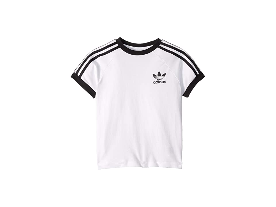 Image of adidas Originals Kids 3-Stripes Tee (Little Kids/Big Kids) (White/Black) Boy's T Shirt