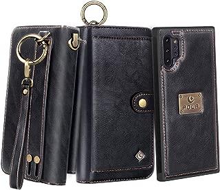 Petocase Compatible Note 10 Plus Wallet Case, Multi-Functional PU Leather Zip Wristlets Clutch Detachable Magnetic 13 Card Slots 4 Cash Purse Protection Cover for Samsung Galaxy Note 10 Plus Black