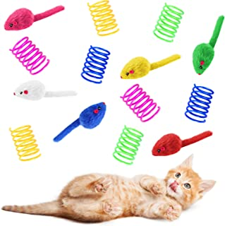 Skylety 6 Natural Catnip Filled Kitten Chew Toys Cat Catnip Toys for Indoor Mouse Toys, 8 Plastic Colorful Coils Wide Colo...