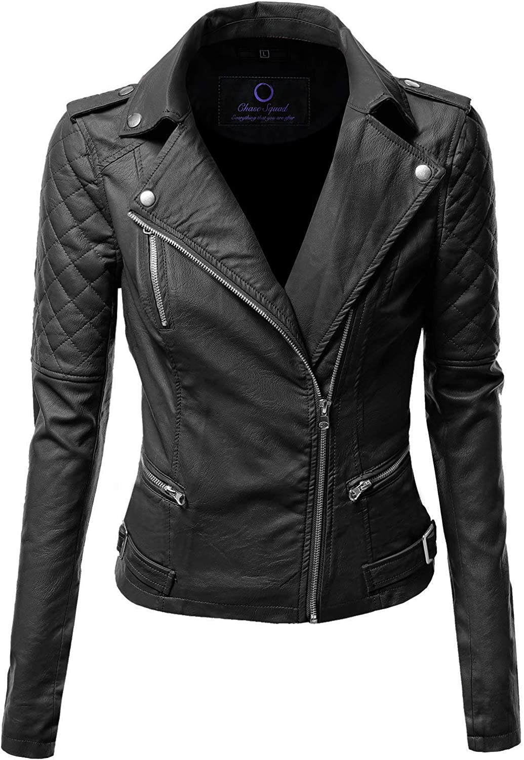 Chase Squad Lambskin Leather Jackets for Women  Quilted Biker Leather Jacket in Black