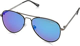 Pepe Jeans Polarized Aviator Unisex Sunglasses - (PJ5128C2P_Matt Black|61|Blue Revo Color Lens)