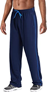 Men's Workout Pants with Zipper Pockets Lightweight Open Bottom Running Sweatpants