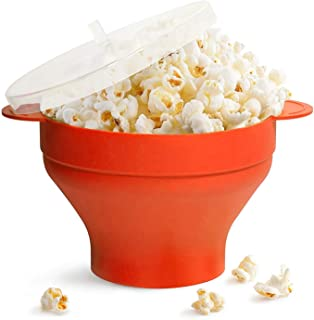 Microwave Popcorn Popper with Handle, Silicone Popcorn Maker, Collapsible Bowl BPA Free Popcorn Bowl