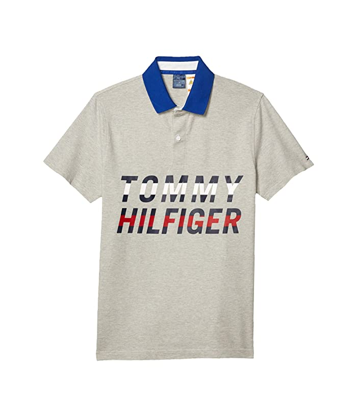 Tommy Hilfiger Adaptive  Polo Shirt with Magnetic Buttons Slim Fit (Heather Grey) Mens Clothing
