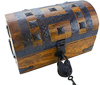 Well Pack Box Pirate Treasure Chest Box 11x7x7 Iron Accents-Lock and 2 Skeleton Keys (Medium)