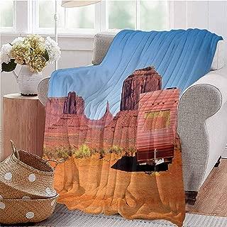KFUTMD Digital Printing Blanket Abandoned Caravan Design Monument Valley Arizona Desert Country Orange Pink Blue Dorm Bed Baby Cot Traveling Picnic W70 xL84