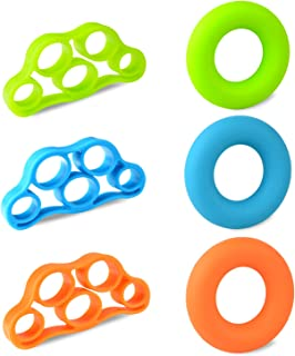 LINPOZONE 6 Pack Forearm Trainer Rings and Finger Resistance Bands Stretcher for Guitar, Rock Climbing and Hand Exercise
