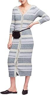 Womens Cozy Up Knit V-Neck Midi Dress