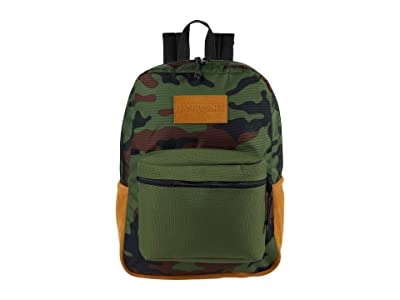 JanSport Super Suede (New Olive Camo) Backpack Bags