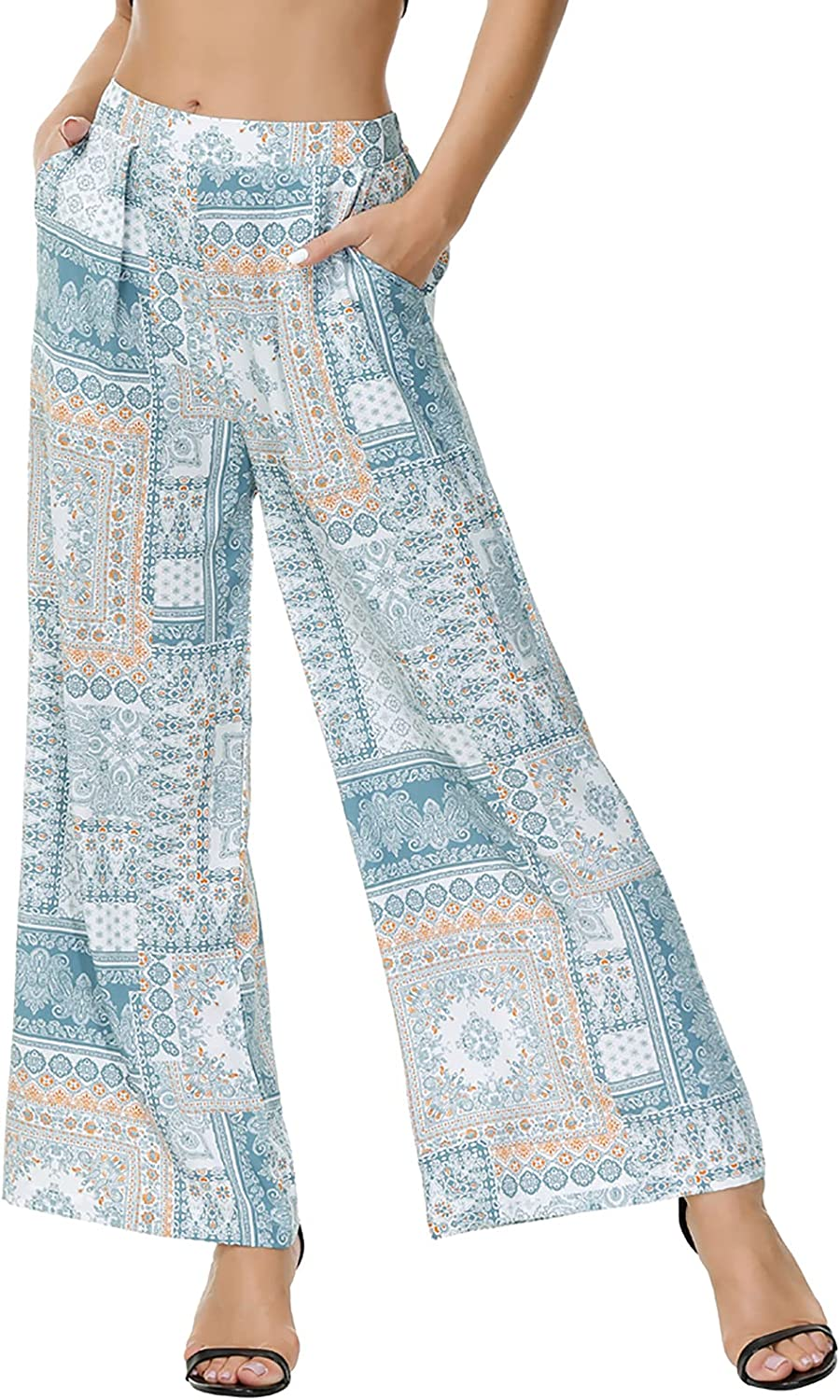Zexxxy Womens Paisley Printed Wide Leg Pants Elastic Waist Casual Trousers with Pockets Loose Comfy Bottoms