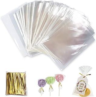 Gxhong Sachet Transparent,400pcs Sac Cellophane Sac OPP Sachet Bonbon Sachets Transparents pour Les Aliments Avec 800 lien...