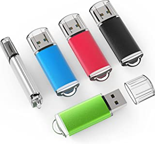 TOPSELL 5 Pack 2GB USB 2.0 Flash Drive Memory Stick Thumb Drives (5 Mixed Colors: Black Blue Green Red Silver)