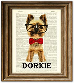 This Dorky Yorkie Is Dorkie Yorkshire Terrier Dog With Glasses and Bow Tie Vintage Dictionary Page Book Art Print