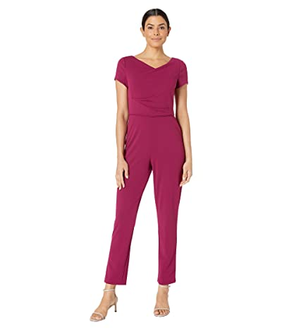 Adrianna Papell Knit Crepe Cowl Neck Jumpsuit (Raspberry Wine) Women