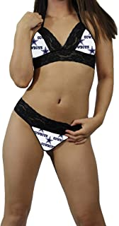 Dallas Cowboys 1 Sexy Black Lace Cami Tie-Top, Matching G-String Panties Lingerie - MADE with LICENSED Fabric - Custom Sizing