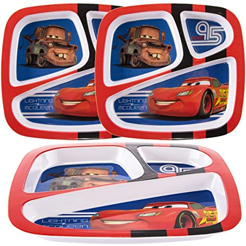 3 PACK The First Years Disney//Pixar CARS 3 Sectioned Divided Plate ~ KIDS DISH