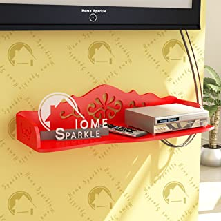 Home Sparkle Carved Set Top Box Holder Engineered Wood (Red)