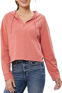 Xinsilu - Women's Loose Active Hooded Sweatshirt Half Zip Pullover Hoodie Crop Top