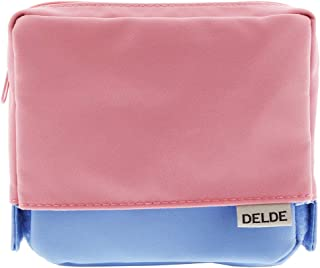 Sun-Star Stationery Square Pouch [DELDE/Light Pink x Blue] (Japan Import)