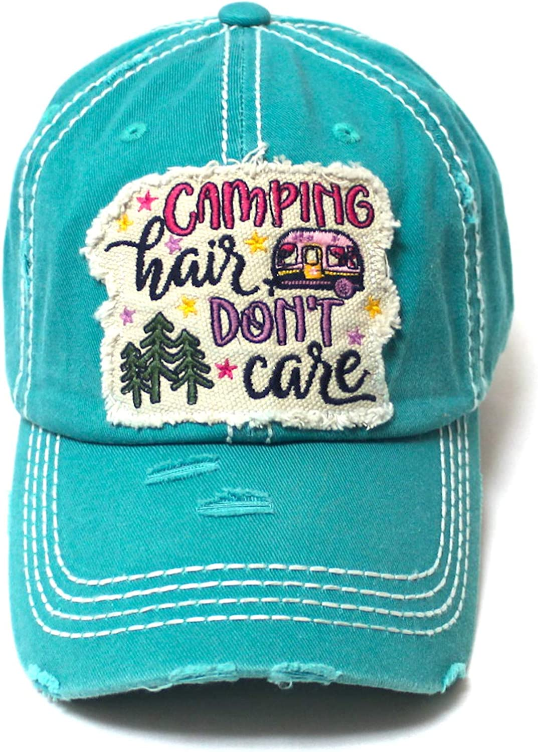 CAPS 'N VINTAGE Women's Distressed Baseball Cap Camping Hair Don't Care Patch Embroidery Monogram Hat