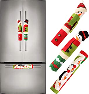 Tatuo Christmas Handle Covers Set Refrigerator Handle Covers Door Handle Cover with Snowman Pattern for Christmas Decoration, 3 Pieces Totally