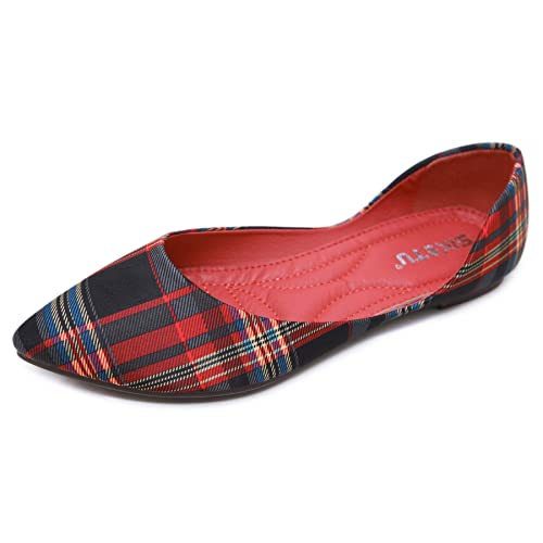 9c6a9adf7df Orangetime Womens Classic Pointy Toe Shoes Ballet Flats Plaid Flat Shoes  for Work Slip On Moccasins