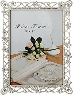 L&T Metal Picture Frame Silver Plated with Pearly White Flowers and Crystals, for 5 x 7 Inch Photo