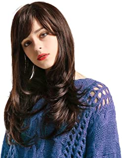 Emmor Long Brown Human Hair Wigs for Women Blend With Healthy Kanekalon Fiber Side Part Bang Wig,Natural Daily Use (Color 6#)